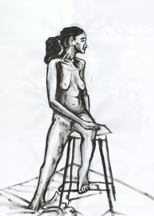 Sitting Nude, Ink 2003