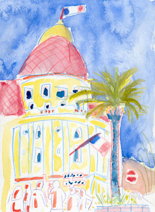 Hotel in Nice, watercolour on paper 2000
