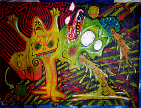 Unity, Empathy, Apathy, Monotony, UV acrylic on canvass 2001